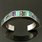 Mark Hileman sterling silver bracelet inlaid with sugilite, Australian opal, chrysoprase and chalcosiderite.