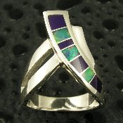 Ladies sterling silver ring inlaid with Australian opal and gem sugilite.