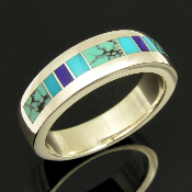 Mark Hileman sterling silver man's ring inlaid with lapis, turquoise and spiderweb turquoise.