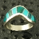 Handmade sterling silver woman's ring inlaid with chrysocolla and turquoise by Hileman Silver Jewelry.