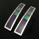 Sterling silver tapered earrings inlaid with sugilite, Australian opal and chrysoprase by Mark Hileman.