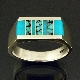 Sterling silver flat top man's ring inlaid with spiderweb turquoise and gem silica by Mark Hileman.