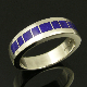 Awesome deep blue lapis inlaid in a sterling silver man's ring band by Mark Hileman.