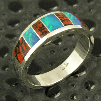 Handmade man's sterling silver band inlaid with gem dinosaur bone and Australian opal by artisan Mark Hileman.