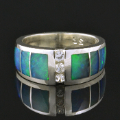Australian opal wedding ring with white sapphires set in sterling silver.