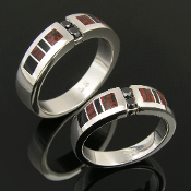 Dinosaur bone wedding ring set with black diamonds and black onyx accents by Hileman Silver Jewelry.