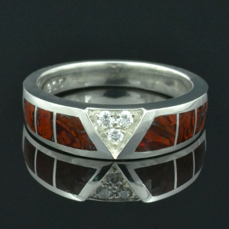 Ladies Dinosaur Bone Ring with White Sapphire Accents by Hileman