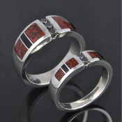Dinosaur bone wedding ring set in sterling silver by Hileman Silver Jewelry.