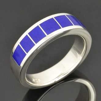 Handmade lapis ring in sterling silver by Hileman Silver Jewelry.