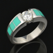 Beautiful chrysoprase and moissanite engagement ring handcrafted in sterling silver by Hileman Silver Jewelry.