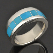 Turquoise wedding ring with 7 pieces of turquoise inlaid in sterling silver by Hileman Silver Jewelry.