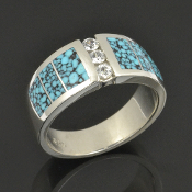 Spiderweb Turquoise Wedding Ring with White Sapphires set in Sterling Silver by Hileman Silver Jewelry.