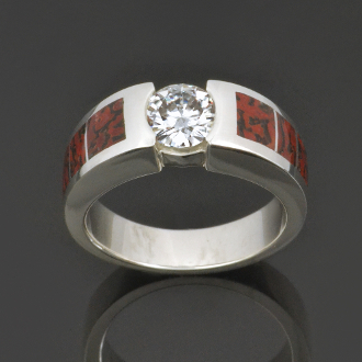 Dinosaur bone engagement ring with Forever Brilliant moissanite set in sterling silver by Hileman Silver Jewelry.
