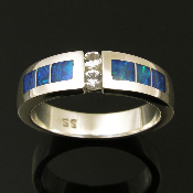His and his wedding ring set with Australian opal inlay and white sapphires in sterling silver by Hileman.