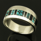 Man's sterling silver ring band inlaid with black onyx and blue spiderweb turquoise with black matrix.