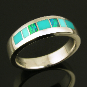 Ladies handmade sterling silver ring inlaid with Australian opal, turquoise and gem silica.