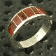 Handmade man's sterling silver band inlaid with gem dinosaur bone by artisan Mark Hileman.