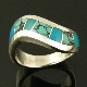Sterling silver ladies curved channel band inlaid with spiderweb turquoise and gem silica.