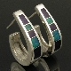 "Sterling silver tapered ""J hoop"" earrings inlaid with Australian opal and sugilite by Mark Hileman. Nice blue green Australian opal and deep purple sugilite inlay."