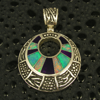 Handmade sterling silver circle pendant inlaid with Australian opal and beautiful purple sugilite.