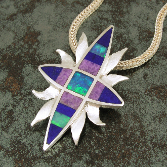 Very unique handmade sterling silver pendant inlaid with Australian opal, lapis lazuli and sugilite