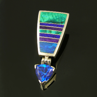 Unique blue topaz sterling silver pendant inlaid with Australian opal, lapis, sugilite and chrysocolla.