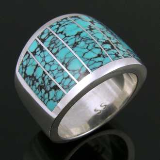 Spiderweb turquoise inlay ring in sterling silver by Mark Hileman.