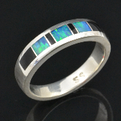 Australian opal and black onyx inlay sterling silver ring.