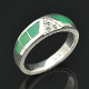 Handmade chrysoprase inlay wedding ring with white sapphires set in sterling silver by Hileman Silver Jewelry.
