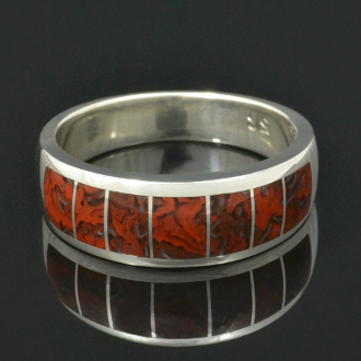 Swirling Red Dinosaur Bone Ring in Sterling Silver