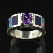 Amethyst engagement or wedding ring inlaid with lab created opal and purple sugilite by Hileman Silver Jewelry.