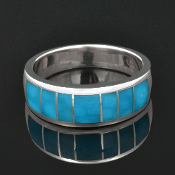 Man's Birdseye Turquoise Ring in Sterling Silver