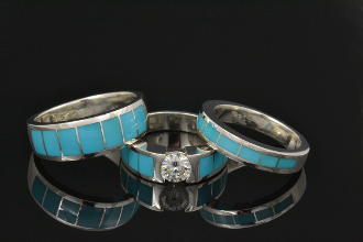 Turquoise wedding ring set with Moissanite.