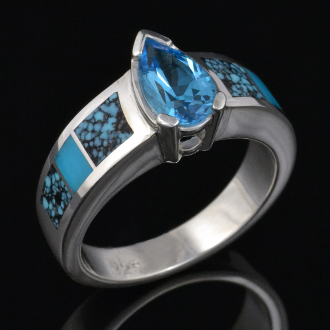 Spiderweb turquoise and turquoise engagement or wedding ring