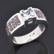 Dinosaur bone wedding or engagement ring with princess cut white sapphire in sterling silver by Hileman Silver Jewelry.