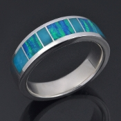 Lab created opal and turquoise wedding ring handmade in sterling silver by Hileman Silver Jewelry.