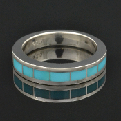 Turquoise wedding ring in sterling silver by Hileman Silver Jewelry.