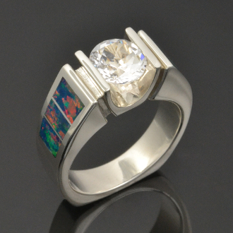 Lab created opal engagement ring with white topaz set in sterling silver by Hileman Silver Jewelry.