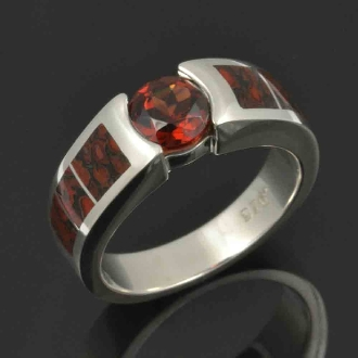 Dinosaur bone engagement ring with red garnet set in sterling silver by Hileman Silver Jewelry.