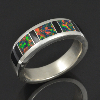 Lab created black opal ring with onyx handcrafted in sterling silver by Hileman Silver Jewelry.