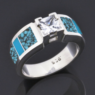 Turquoise wedding or engagement ring with princess cut Moissanite in sterling silver by Hileman Silver Jewelry.