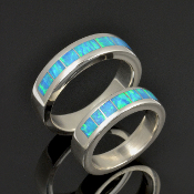 Matching lab opal wedding ring set in sterling silver by Hileman Silver Jewelry.