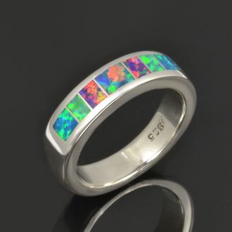 Rainbow lab opal ring in sterling silver by Hileman Silver Jewelry. Look at the amazing colors in this lab created opal wedding band!