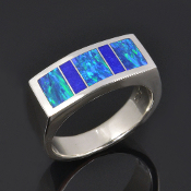 Lapis and lab opal ring handcrafted in sterling silver by Hileman Silver Jewelry.