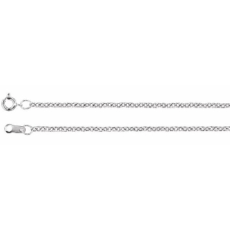 Rhodium plated sterling silver wheat chain measuring 1.5mm wide and available in 16 inch length.