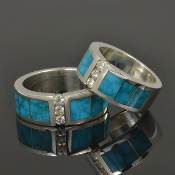 Matching turquoise wedding ring set with Birdseye turquoise and Moissanite set in sterling silver.